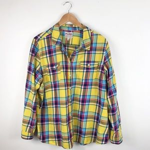XXL Old Navy button up long sleeve plaid shirt